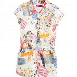CAKEWALK Girls Cotton 'Samea' Patchwork Print Playsuit