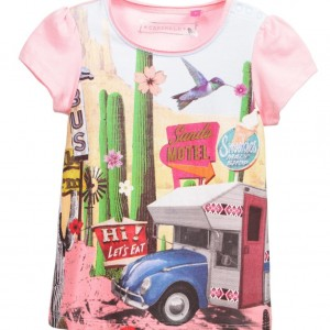 CAKEWALK Girls Pink Cotton Desert Caravan Print T-Shirt