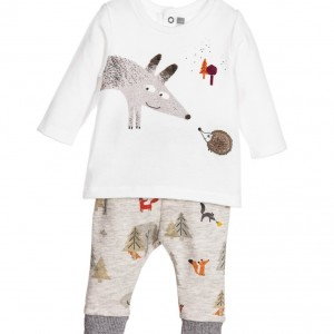CATIMINI Baby Boys Ivory & Grey Top & Trousers 2 Piece Set