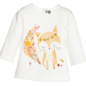 CATIMINI Baby Girls Ivory Cotton Fox Print T-Shirt