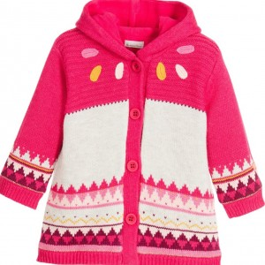 CATIMINI Baby Girls Pink Knitted Cardigan with Hood