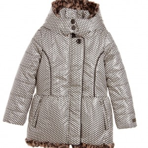 CATIMINI Girls Black Padded Coat with Ivory Hearts