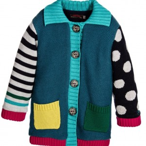 CATIMINI Girls Blue & Teal Green Cotton Knitted Cardigan