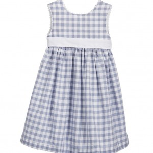 DARCY BROWN Blue & White Checked Cotton Dress