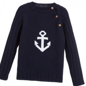 DARCY BROWN Boys Navy Blue Cotton 'Anchor' Sweater