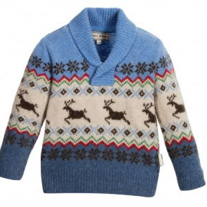 DARCY Baby Boys Blue Wool Knitted Sweater