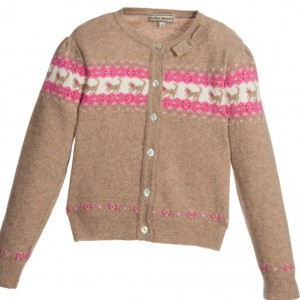 DARCY Girls Brown Wool Knitted Cat Cardigan