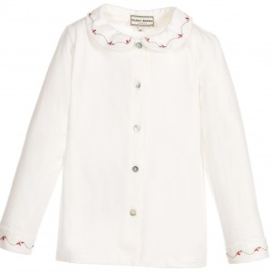 DARCY Girls Embroidered Ivory Cotton Blouse