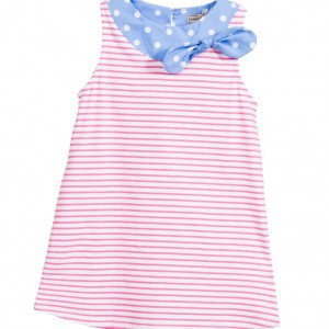 DARCY Girls Pink & White Stripe Cotton Jersey Dress