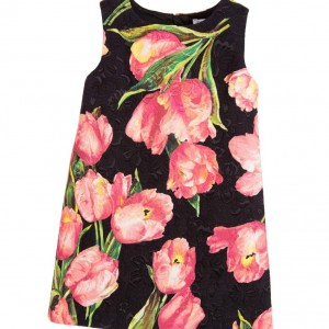 DOLCE & GABBANA Black Silk Brocade Dress with Pink Tulips
