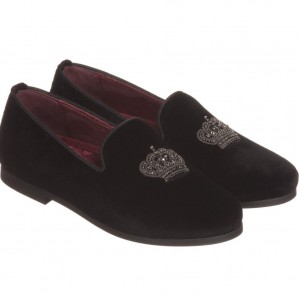 DOLCE & GABBANA Black Velvet Shoes with Marcasite Crown
