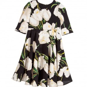 DOLCE & GABBANA Black Viscose Crepe Dress with Ivory Tulips