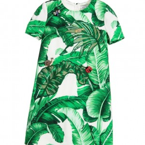 DOLCE & GABBANA 'Botanical' Banana Leaf Viscose Crepe Dress
