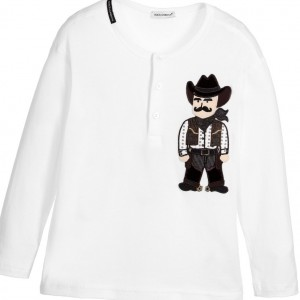 DOLCE & GABBANA Boys Ivory Cotton Cowboy Top