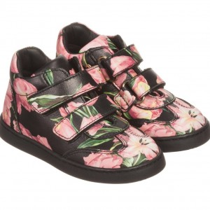 DOLCE & GABBANA Girls Black & Pink Tulip Print Leather Trainers