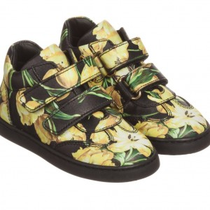 DOLCE & GABBANA Girls Black & Yellow Tulip Print Leather Trainers