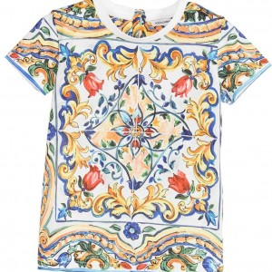 DOLCE & GABBANA Girls Ivory Cotton Maiolica Print T-Shirt
