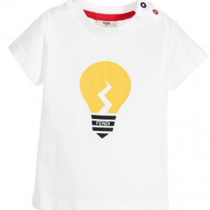 FENDI Baby Boys White 'Lightbulb' T-Shirt