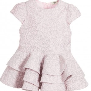 FENDI Baby Girls Pink & Silver Jacquard Dress
