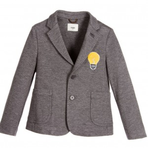 FENDI Boys Grey Milano Jersey 'Lightbulb' Blazer