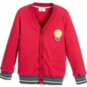 FENDI Boys Red Cotton Jersey 'Lightbulb' Cardigan