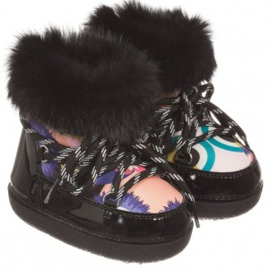 FENDI Girls Black Patent 'Monster' Snow Boots