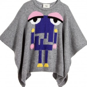 FENDI Girls Grey Wool & Cashmere 'Monster Robot' Poncho