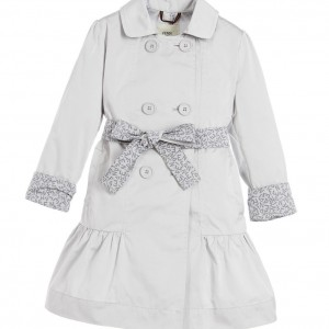 FENDI Girls Silver Belted Trench Coat