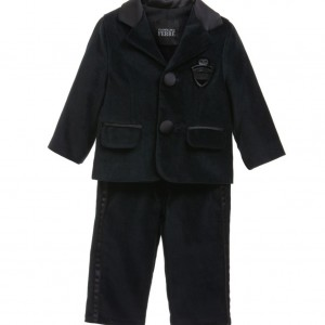GF FERRE Boys Black Velvet Suit