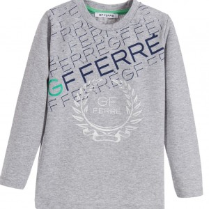 GF FERRE Boys Grey Cotton Logo Top