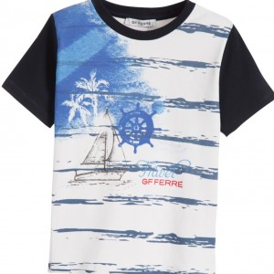 GF FERRE Boys White & Blue Nautical T-Shirt
