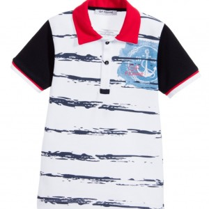 GF FERRE Boys White Nautical Logo Polo Shirt