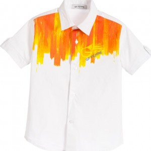 GF FERRE Boys White & Orange Logo Print Shirt