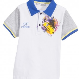 GF FERRE Boys White Shoe Print Polo Shirt