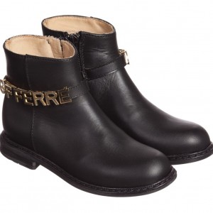 GF FERRE Girls Black Leather Boots With Gold Lettering