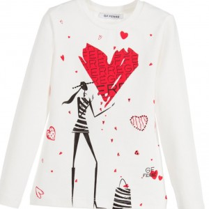 GF FERRE Girls Ivory Cotton Heart T-Shirt