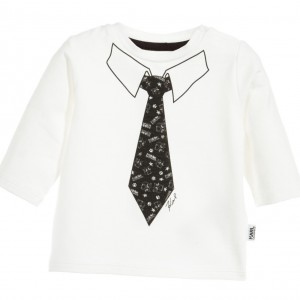 KARL LAGERFELD KIDS Baby Boys 'Snowy Kitten' T-Shirt with Tie Print