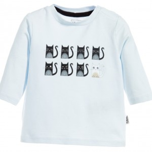 KARL LAGERFELD KIDS Blue Cotton 'Snowy Kitten' Bad Boy & Choupette Baby T-Shirt