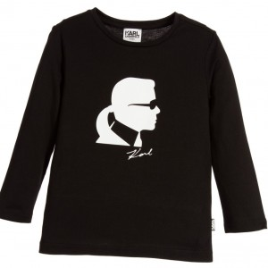 KARL LAGERFELD KIDS Boys Black Cotton Top with Karl Print