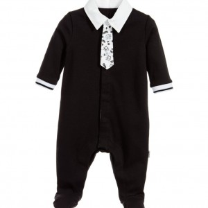 KARL LAGERFELD KIDS Boys Black 'Snowy Kitten' Shirt Babygrow