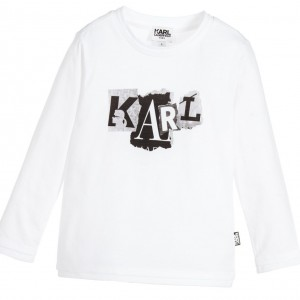 KARL LAGERFELD KIDS Boys White Cotton 'Karl' Print T-Shirt