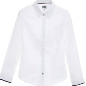 KARL LAGERFELD KIDS Boys White Cotton Shirt with Grey & Black Trims