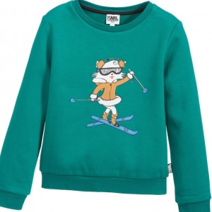 KARL LAGERFELD KIDS Girls Green 'Keep Cool' Choupette Sweatshirt