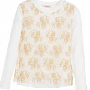 LAURA BIAGIOTTI DOLLS Girls Ivory & Gold Tulle Top
