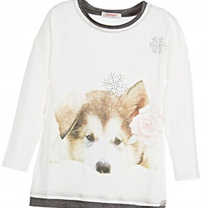LAURA BIAGIOTTI DOLLS Girls Ivory Viscose Puppy & Rose Top