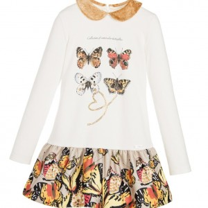LAURA BIAGIOTTI DOLLS Ivory Butterfly Print Dress