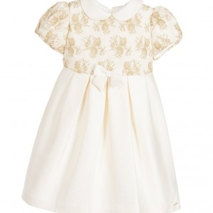 LAURA BIAGIOTTI DOLLS Ivory Cotton Crepe Dress with Gold Embroidery