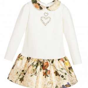 LAURA BIAGIOTTI DOLLS Ivory Jersey Dress with Gold Floral Skirt