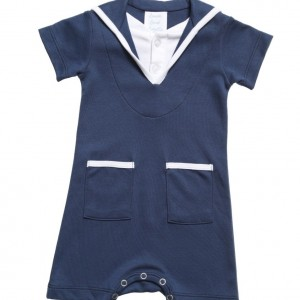 LEMON LOVES LAYETTE Navy Blue 'Little Sailor' Romper