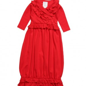 LEMON LOVES LAYETTE Red Pima Cotton 'Jenna' Day Gown